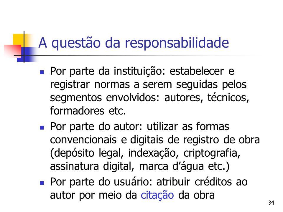 34 A questão da responsabilidade  Por parte da instituição: estabelecer e registrar normas a serem seguidas pelos segmentos envolvidos: autores, técnicos, formadores etc.