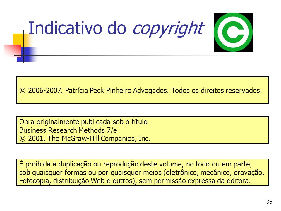 36 Indicativo do copyright Obra originalmente publicada sob o título Business Research Methods 7/e © 2001, The McGraw-Hill Companies, Inc. É proibida