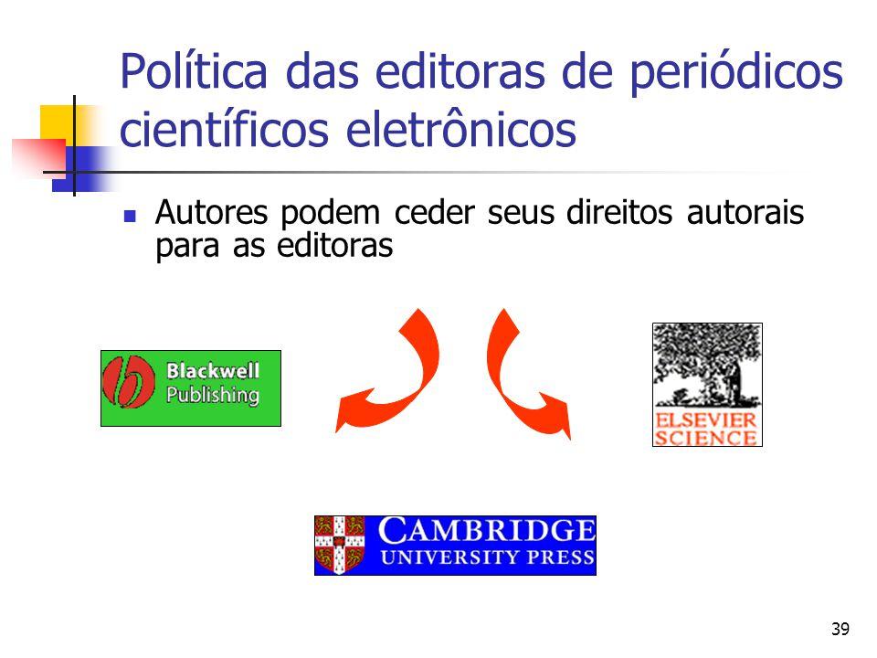39 Política das editoras de periódicos científicos eletrônicos  Autores podem ceder seus direitos autorais para as editoras