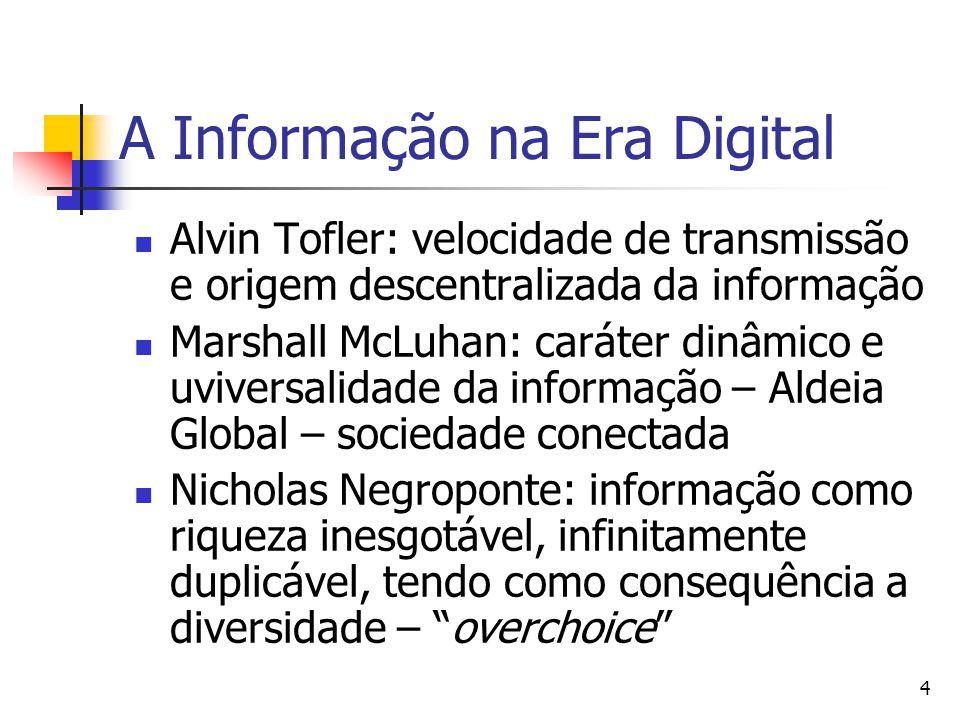 4 A Informação na Era Digital  Alvin Tofler: velocidade de transmissão e origem descentralizada da informação  Marshall McLuhan: caráter dinâmico e