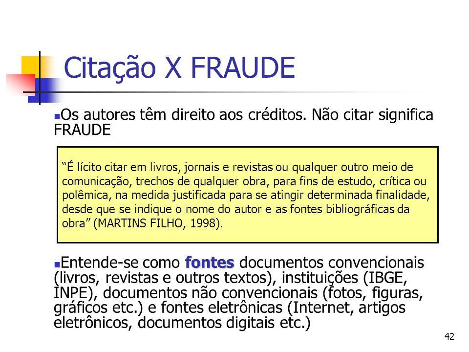 """42 Citação X FRAUDE  Os autores têm direito aos créditos. Não citar significa FRAUDE """"É lícito citar em livros, jornais e revistas ou qualquer outro"""