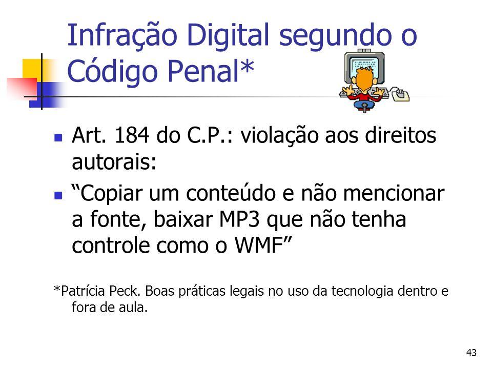 """43 Infração Digital segundo o Código Penal*  Art. 184 do C.P.: violação aos direitos autorais:  """"Copiar um conteúdo e não mencionar a fonte, baixar"""