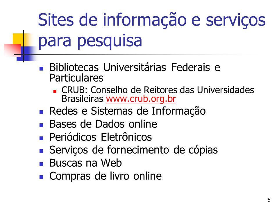 6 Sites de informação e serviços para pesquisa  Bibliotecas Universitárias Federais e Particulares  CRUB: Conselho de Reitores das Universidades Bra