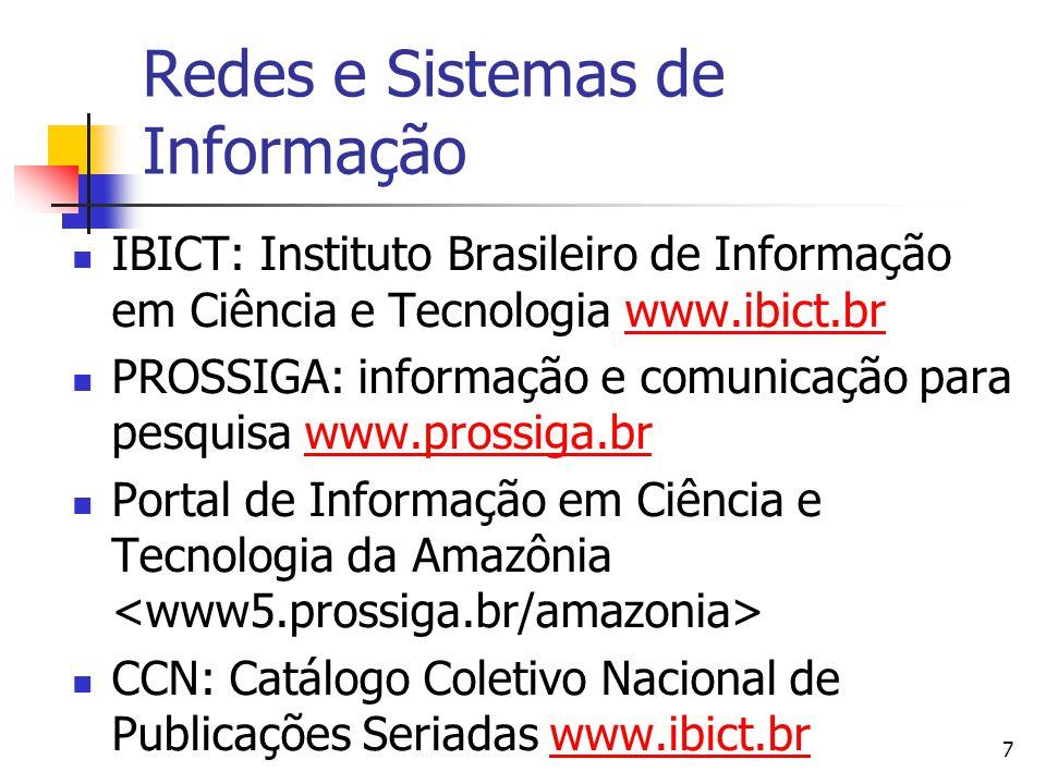 7 Redes e Sistemas de Informação  IBICT: Instituto Brasileiro de Informação em Ciência e Tecnologia www.ibict.brwww.ibict.br  PROSSIGA: informação e comunicação para pesquisa www.prossiga.brwww.prossiga.br  Portal de Informação em Ciência e Tecnologia da Amazônia  CCN: Catálogo Coletivo Nacional de Publicações Seriadas www.ibict.brwww.ibict.br