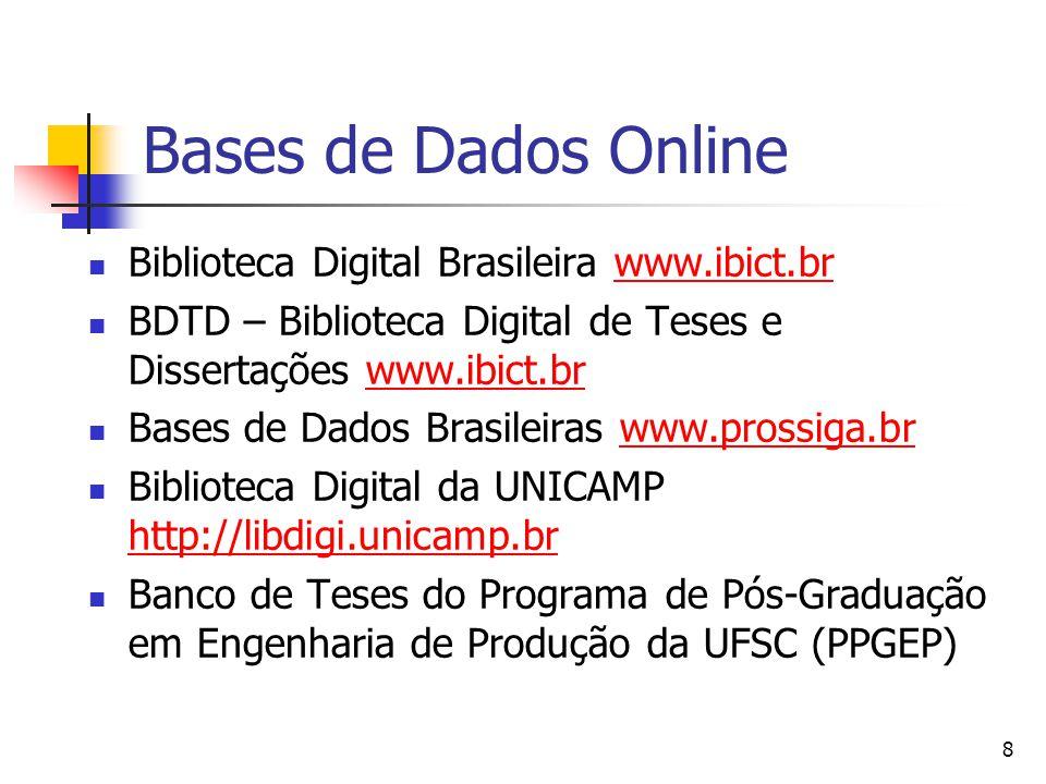 8 Bases de Dados Online  Biblioteca Digital Brasileira www.ibict.brwww.ibict.br  BDTD – Biblioteca Digital de Teses e Dissertações www.ibict.brwww.ibict.br  Bases de Dados Brasileiras www.prossiga.brwww.prossiga.br  Biblioteca Digital da UNICAMP http://libdigi.unicamp.br http://libdigi.unicamp.br  Banco de Teses do Programa de Pós-Graduação em Engenharia de Produção da UFSC (PPGEP)
