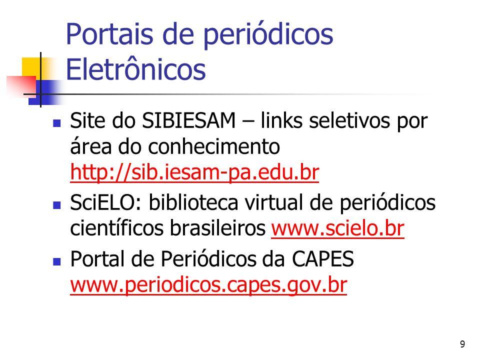 9 Portais de periódicos Eletrônicos  Site do SIBIESAM – links seletivos por área do conhecimento http://sib.iesam-pa.edu.br http://sib.iesam-pa.edu.br  SciELO: biblioteca virtual de periódicos científicos brasileiros www.scielo.brwww.scielo.br  Portal de Periódicos da CAPES www.periodicos.capes.gov.br www.periodicos.capes.gov.br