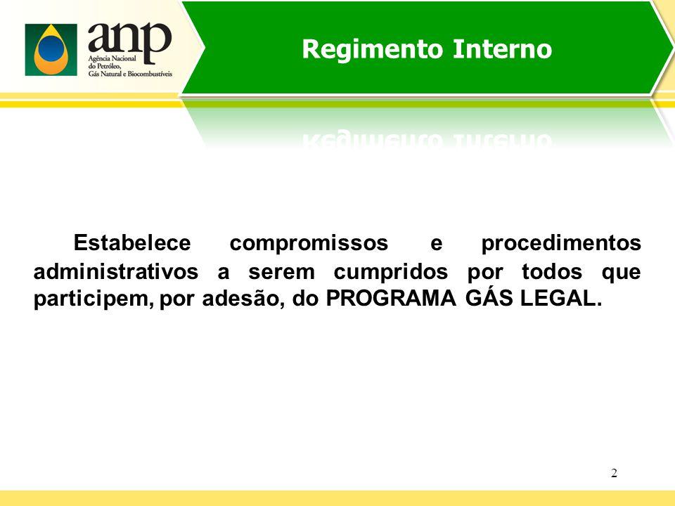 2 Estabelece compromissos e procedimentos administrativos a serem cumpridos por todos que participem, por adesão, do PROGRAMA GÁS LEGAL.