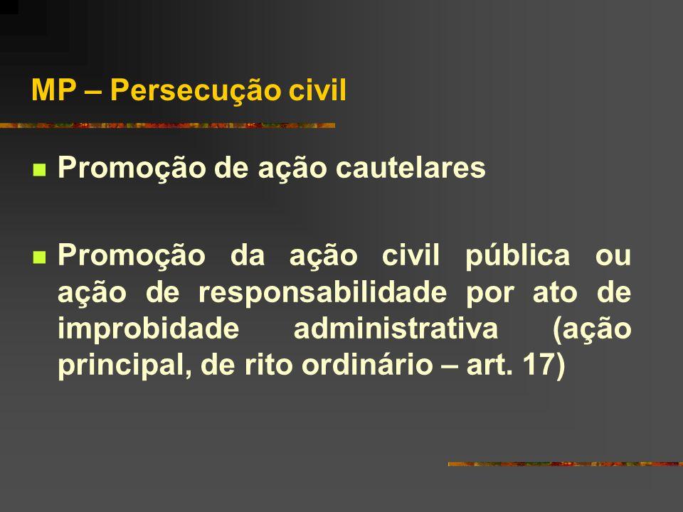 Ministério Público – Atividade de combate à improbidade  Atividade judicial a) persecução criminal (legislação penal) b) persecução civil (lei de imp