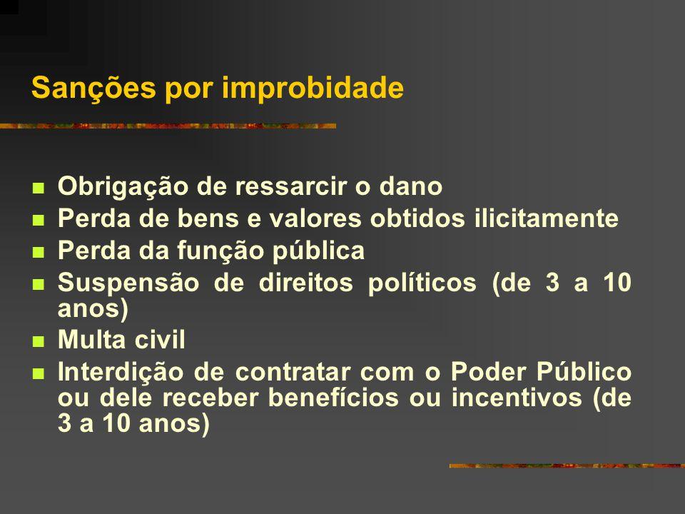 Classificação dos atos de improbidade  Atos dolosos que importam enriquecimento ilícito (art. 9º)  Atos ou omissões, dolosos ou culposos, que causem