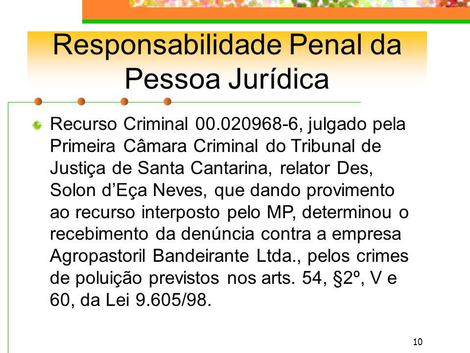 9 Responsabilidade Penal da Pessoa Jurídica Pessoa Jurídica de Direito Público – só podem perseguir fins de interesse público (União, Estados, Distrito Federal, Municípios, autarquias e fundações públicas.