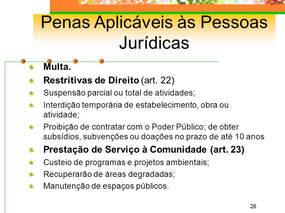 25 Penas Privativas de Liberdade (reclusão e detenção), Restritivas de Direito e Multa.