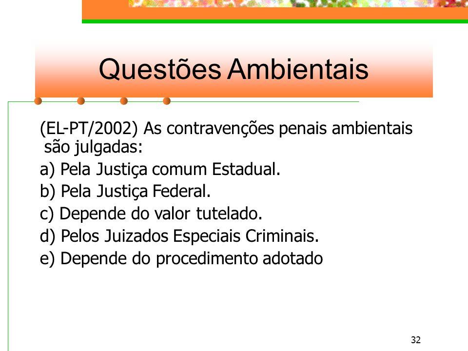 31 Questões Ambientais (UFPR/2001) Dentre as atividades descritas, não é considerado crime contra o meio ambiente: a) Maltratar ou ferir animais domésticos.