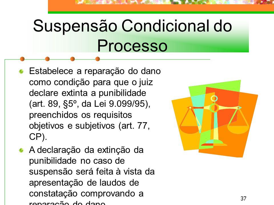36 Consiste na possibilidade de suspensão do processo, que não tem os atos processuais de instituição e o julgamento realizados, mediante o cumprimento de determinadas condições fixadas pelo art.