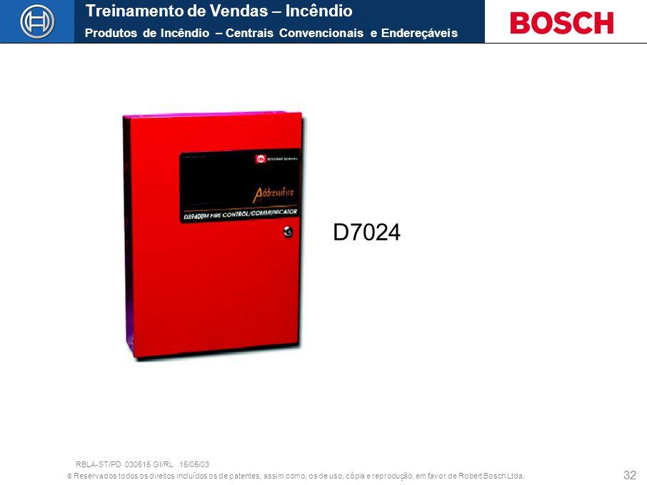 © Reservados todos os direitos incluídos os de patentes, assim como, os de uso, cópia e reprodução, em favor de Robert Bosch Ltda. 32 D7024 Treinament