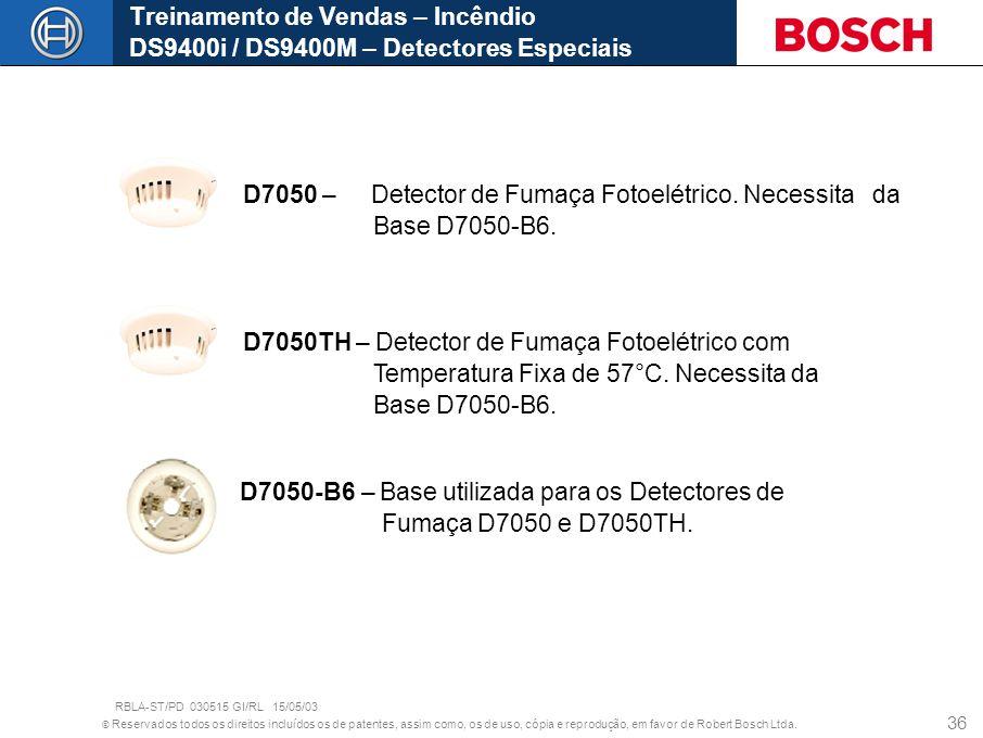 © Reservados todos os direitos incluídos os de patentes, assim como, os de uso, cópia e reprodução, em favor de Robert Bosch Ltda. 36 Treinamento de V