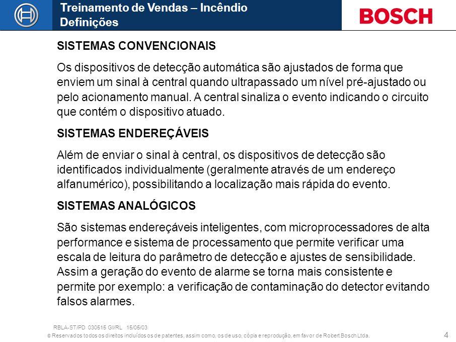 © Reservados todos os direitos incluídos os de patentes, assim como, os de uso, cópia e reprodução, em favor de Robert Bosch Ltda. 4 Treinamento de Ve