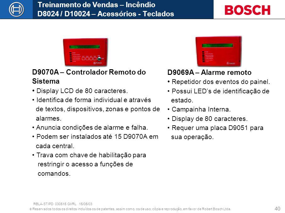 © Reservados todos os direitos incluídos os de patentes, assim como, os de uso, cópia e reprodução, em favor de Robert Bosch Ltda. 40 D9070A – Control