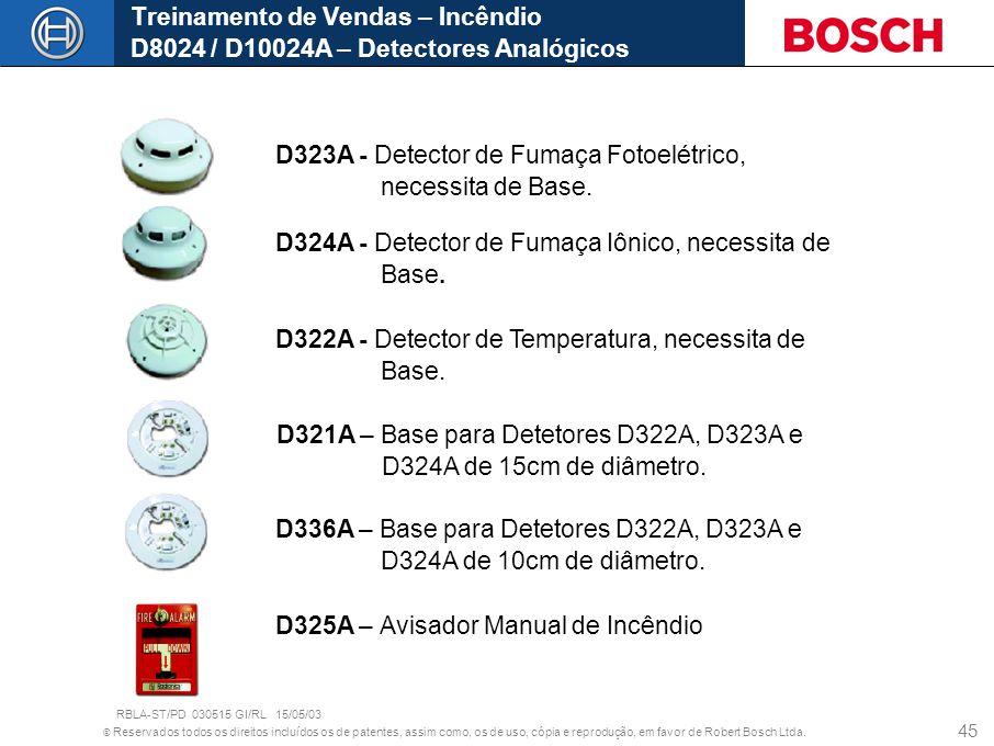 © Reservados todos os direitos incluídos os de patentes, assim como, os de uso, cópia e reprodução, em favor de Robert Bosch Ltda. 45 D323A - Detector