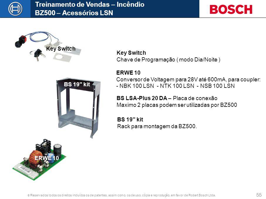 © Reservados todos os direitos incluídos os de patentes, assim como, os de uso, cópia e reprodução, em favor de Robert Bosch Ltda. 55 Treinamento de V