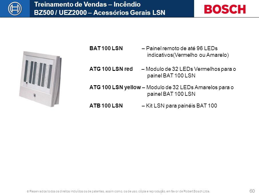 © Reservados todos os direitos incluídos os de patentes, assim como, os de uso, cópia e reprodução, em favor de Robert Bosch Ltda. 60 Treinamento de V