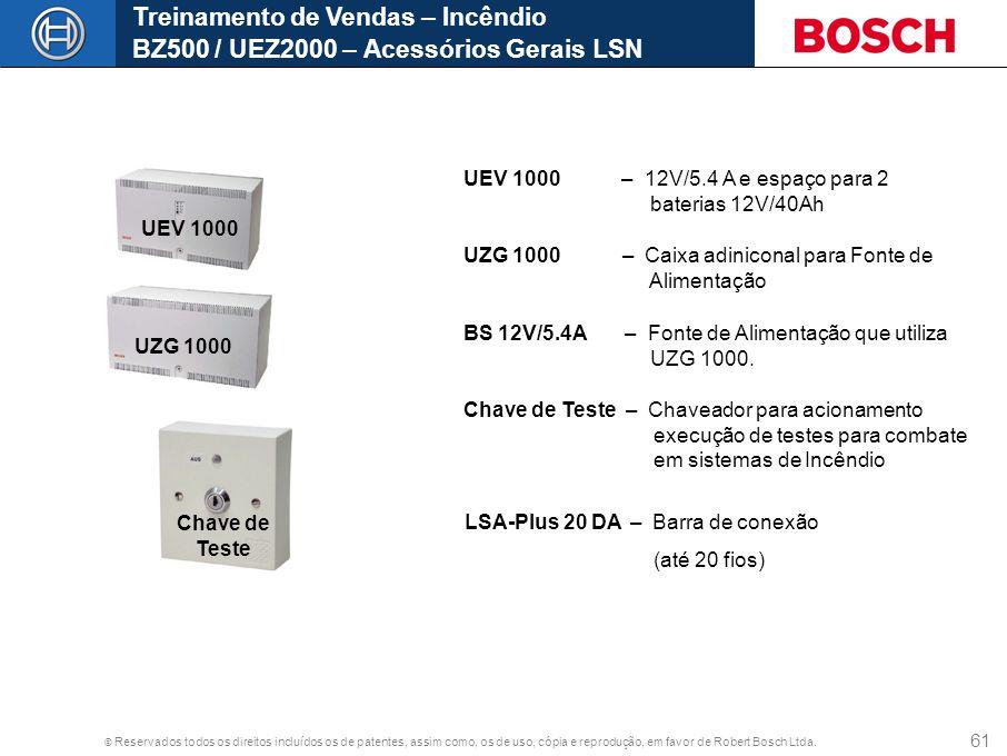 © Reservados todos os direitos incluídos os de patentes, assim como, os de uso, cópia e reprodução, em favor de Robert Bosch Ltda. 61 UEV 1000 UZG 100