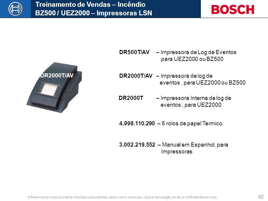 © Reservados todos os direitos incluídos os de patentes, assim como, os de uso, cópia e reprodução, em favor de Robert Bosch Ltda. 62 Treinamento de V