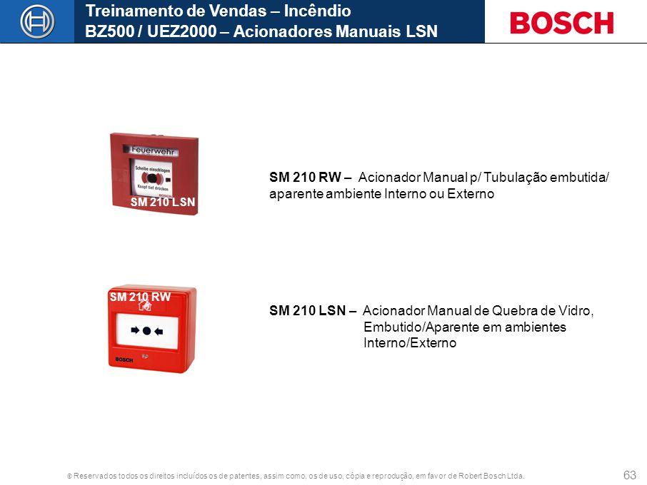 © Reservados todos os direitos incluídos os de patentes, assim como, os de uso, cópia e reprodução, em favor de Robert Bosch Ltda. 63 Treinamento de V