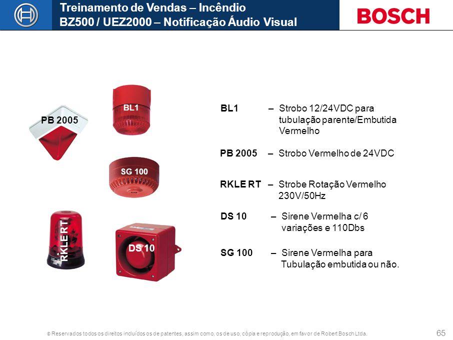 © Reservados todos os direitos incluídos os de patentes, assim como, os de uso, cópia e reprodução, em favor de Robert Bosch Ltda. 65 Treinamento de V