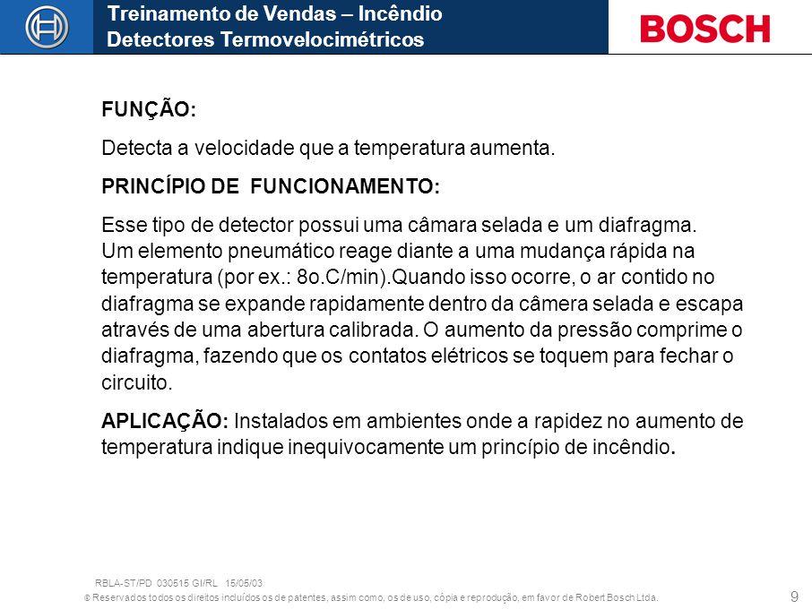 © Reservados todos os direitos incluídos os de patentes, assim como, os de uso, cópia e reprodução, em favor de Robert Bosch Ltda. 9 FUNÇÃO: Detecta a