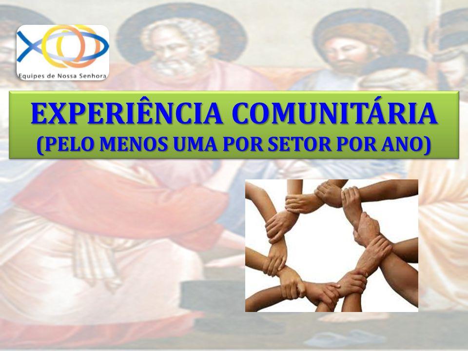 EXPERIÊNCIA COMUNITÁRIA (PELO MENOS UMA POR SETOR POR ANO) EXPERIÊNCIA COMUNITÁRIA (PELO MENOS UMA POR SETOR POR ANO)