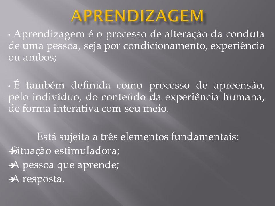 • Aprendizagem é o processo de alteração da conduta de uma pessoa, seja por condicionamento, experiência ou ambos; • É também definida como processo d