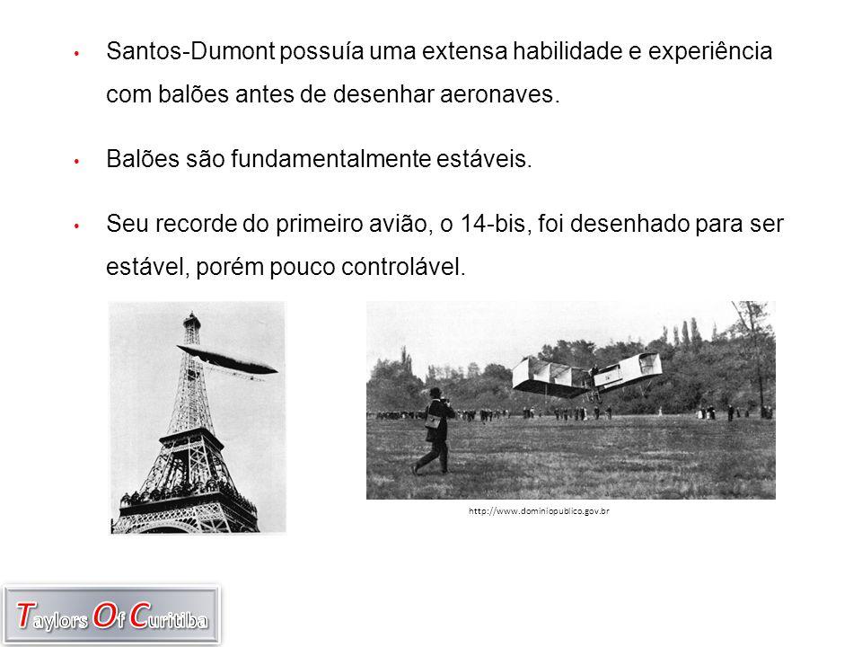 • Santos-Dumont possuía uma extensa habilidade e experiência com balões antes de desenhar aeronaves. • Balões são fundamentalmente estáveis. • Seu rec