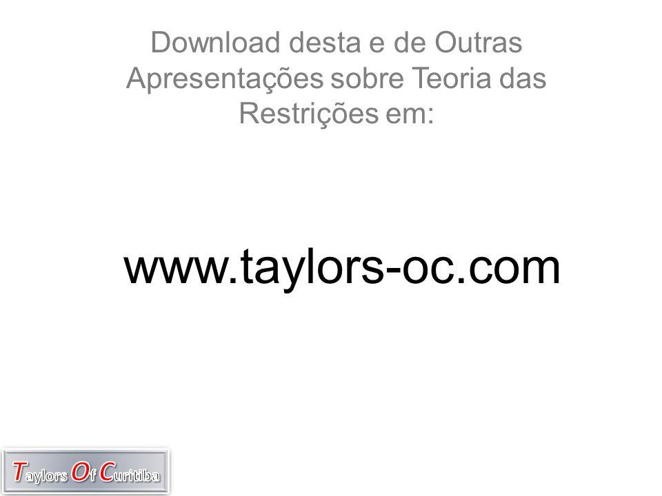 Download desta e de Outras Apresentações sobre Teoria das Restrições em: www.taylors-oc.com