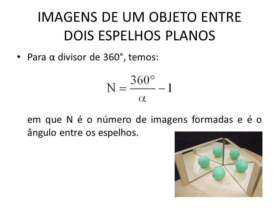 • Para α divisor de 360°, temos: em que N é o número de imagens formadas e é o ângulo entre os espelhos.