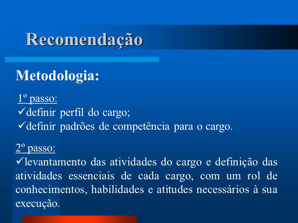 Recomendação Metodologia: 1º passo:  definir perfil do cargo;  definir padrões de competência para o cargo.