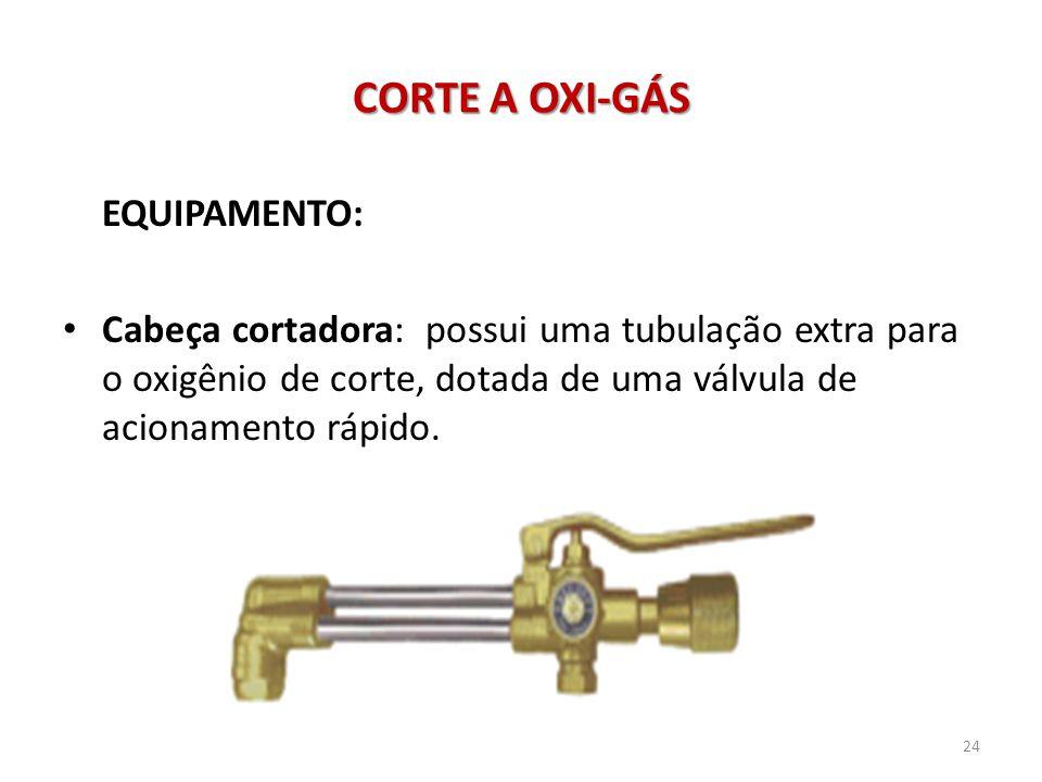 CORTE A OXI-GÁS EQUIPAMENTO: • Cabeça cortadora: possui uma tubulação extra para o oxigênio de corte, dotada de uma válvula de acionamento rápido. 24