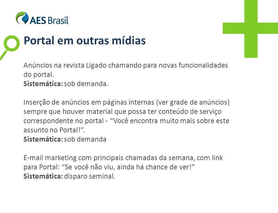 Anúncios na revista Ligado chamando para novas funcionalidades do portal.