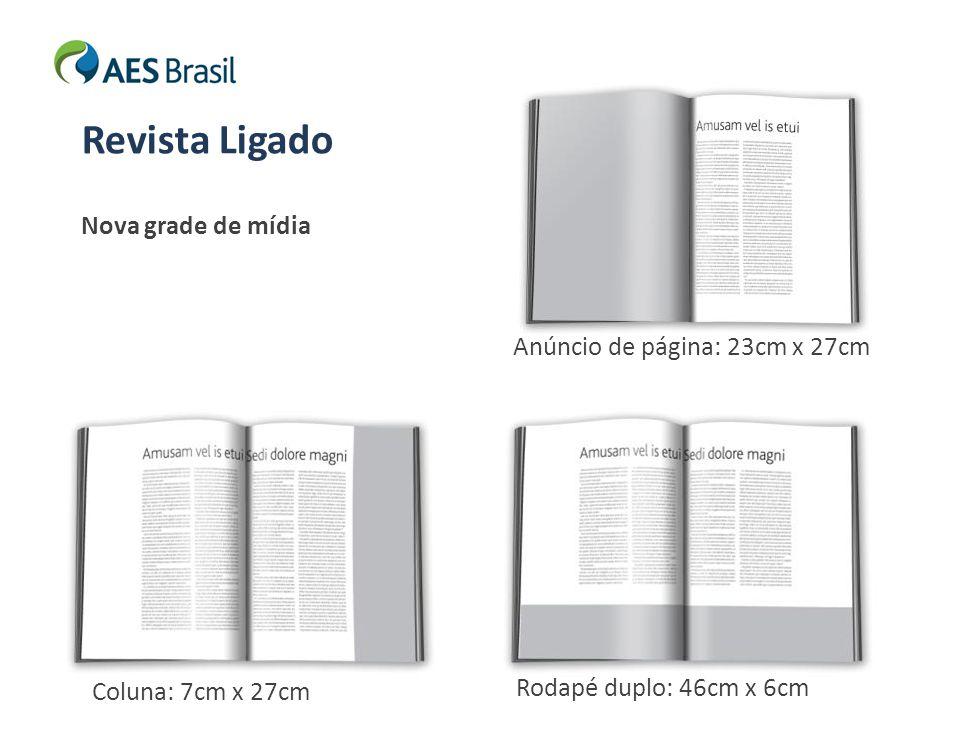 Nova grade de mídia Revista Ligado Anúncio de página: 23cm x 27cm Rodapé duplo: 46cm x 6cm Coluna: 7cm x 27cm