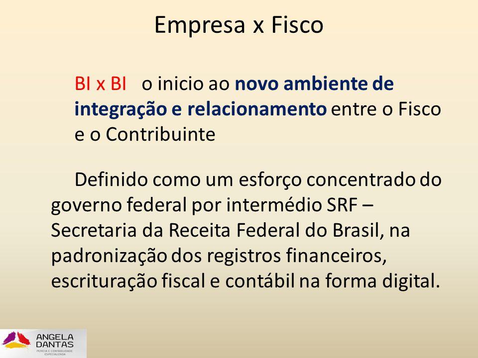 Empresa x Fisco BI x BI o inicio ao novo ambiente de integração e relacionamento entre o Fisco e o Contribuinte Definido como um esforço concentrado d