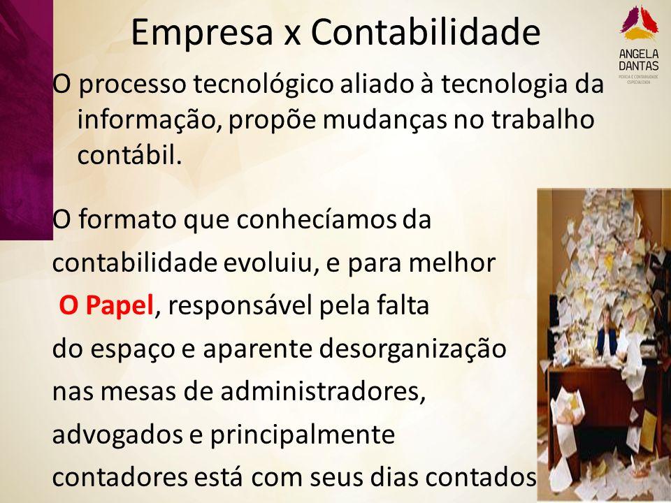 Empresa x Contabilidade O processo tecnológico aliado à tecnologia da informação, propõe mudanças no trabalho contábil. O formato que conhecíamos da c