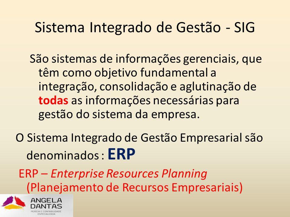 Sistema Integrado de Gestão - SIG São sistemas de informações gerenciais, que têm como objetivo fundamental a integração, consolidação e aglutinação d