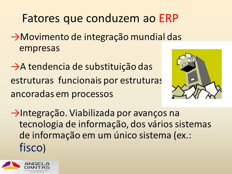 Fatores que conduzem ao ERP →Movimento de integração mundial das empresas →A tendencia de substituição das estruturas funcionais por estruturas ancora