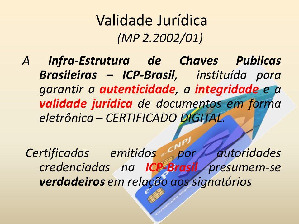 Validade Jurídica (MP 2.2002/01) A Infra-Estrutura de Chaves Publicas Brasileiras – ICP-Brasil, instituída para garantir a autenticidade, a integridad