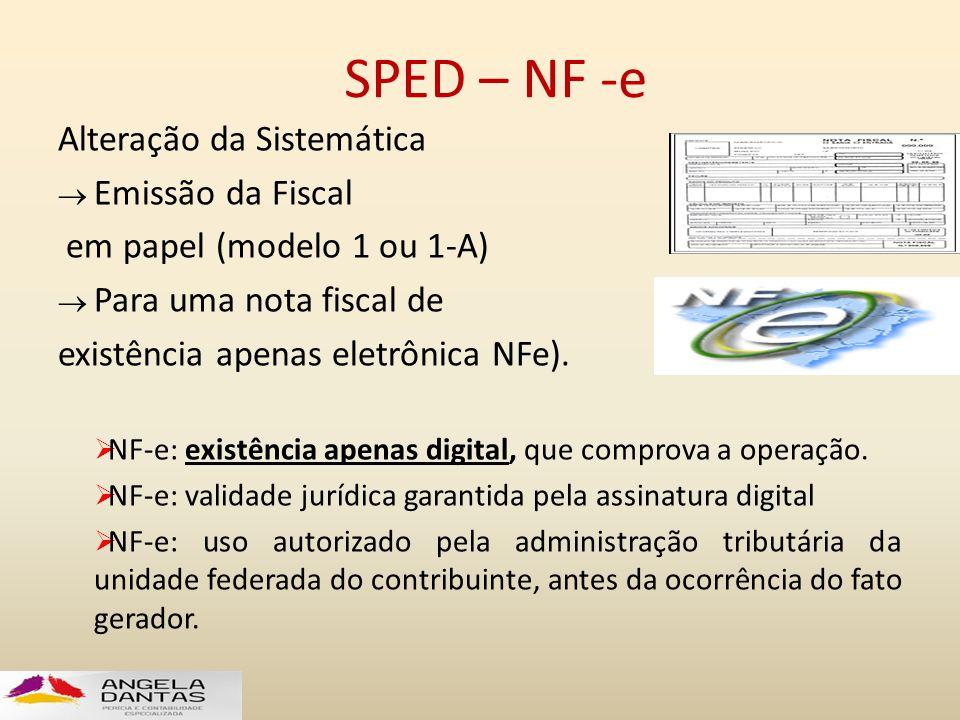 SPED – NF -e Alteração da Sistemática  Emissão da Fiscal em papel (modelo 1 ou 1-A)  Para uma nota fiscal de existência apenas eletrônica NFe).  NF