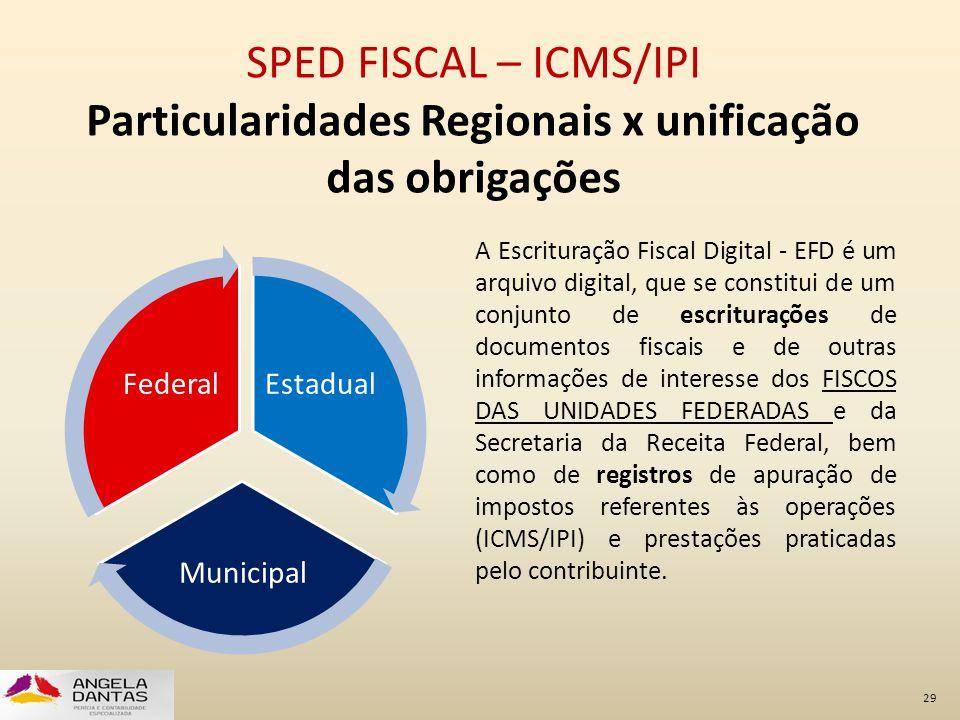 SPED FISCAL – ICMS/IPI Particularidades Regionais x unificação das obrigações A Escrituração Fiscal Digital - EFD é um arquivo digital, que se constit