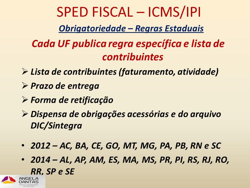 SPED FISCAL – ICMS/IPI Obrigatoriedade – Regras Estaduais Cada UF publica regra específica e lista de contribuintes  Lista de contribuintes (faturame