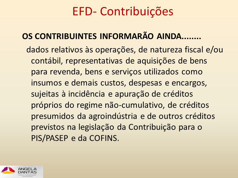 EFD- Contribuições OS CONTRIBUINTES INFORMARÃO AINDA........ dados relativos às operações, de natureza fiscal e/ou contábil, representativas de aquisi