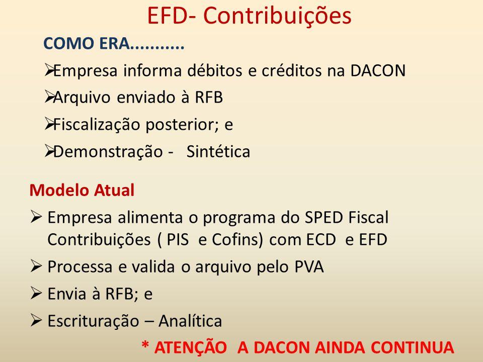 EFD- Contribuições COMO ERA...........  Empresa informa débitos e créditos na DACON  Arquivo enviado à RFB  Fiscalização posterior; e  Demonstraçã