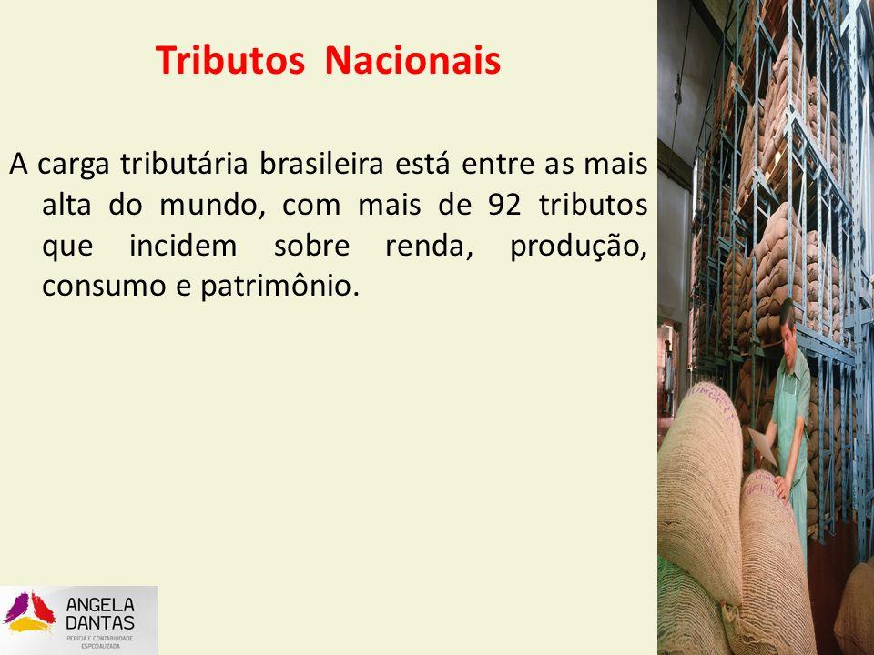 Os Tributos Nacionais Tributos Nacionais A carga tributária brasileira está entre as mais alta do mundo, com mais de 92 tributos que incidem sobre ren