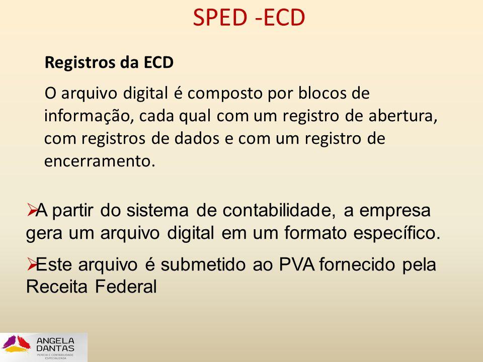 SPED -ECD Registros da ECD O arquivo digital é composto por blocos de informação, cada qual com um registro de abertura, com registros de dados e com